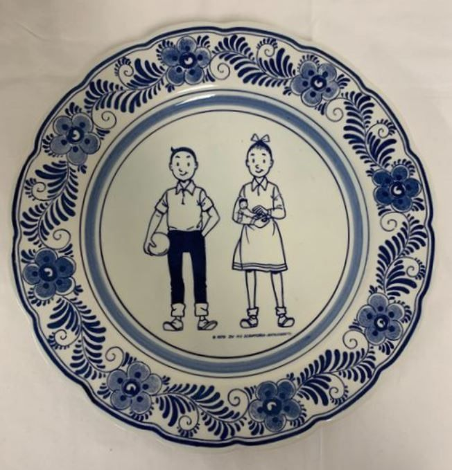 Suske en Wiske - Handpainted Delftware Plate / Delftsblauw Bord - Very Limited 1980 New Year Gift - Wavery Productions - 4 ex. - (1979)