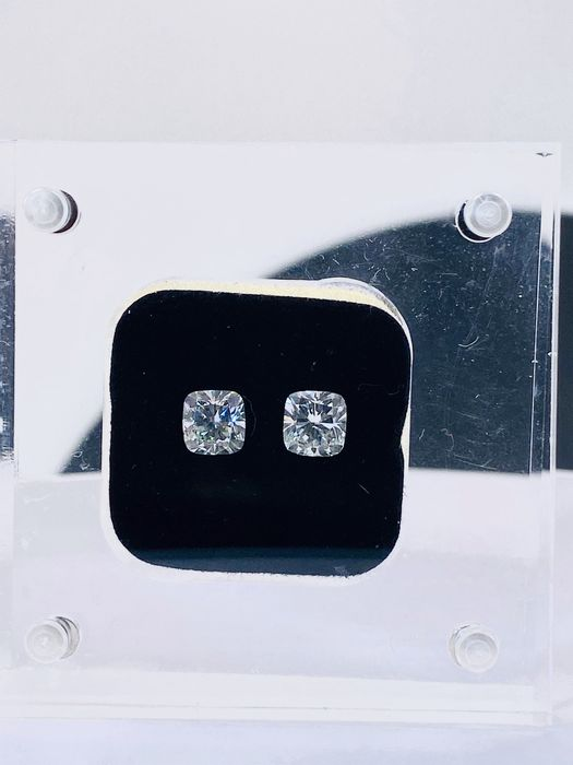 2 pcs Diamantes - 2.01 ct - Cojín - J, K - VS2, VVS2