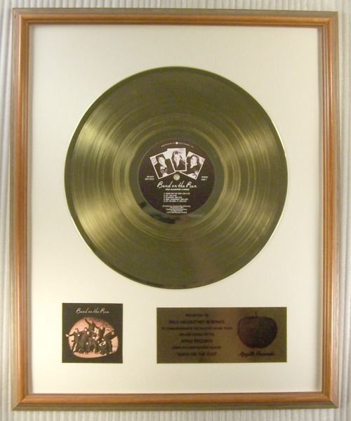 "Paul McCartney, Wings - ""Band On The Run"" LP Gold Record Award - Official In-House award - 1975/1975"