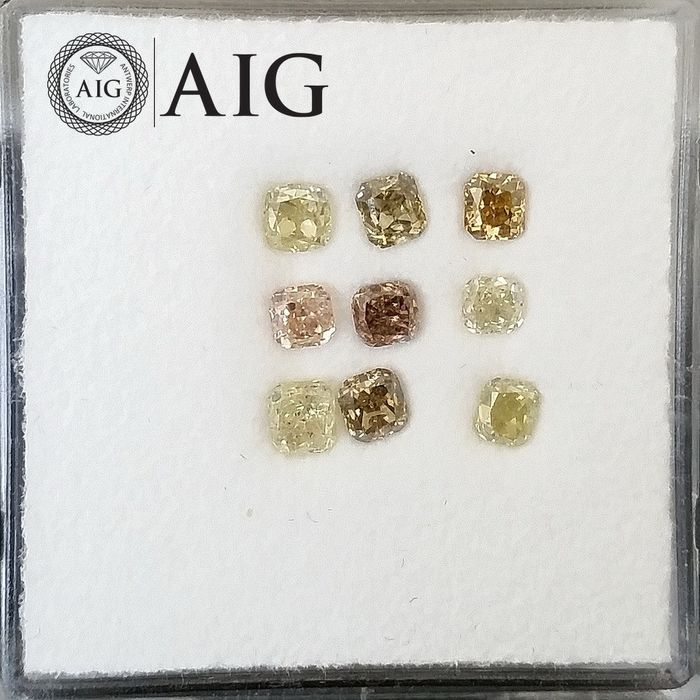 9 pcs Diamonds - 1.02 ct - Mix Shapes - Natural Fancy Mix Colors - I1, I2, SI1, SI2, ***No Reserve Price***