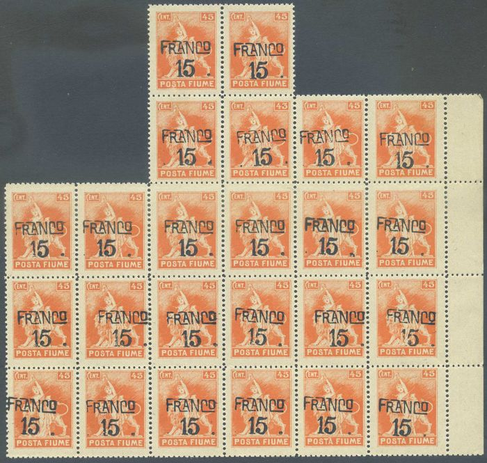 Italia - Fiume - Overprint Franco 15 c. block of 24 of which 14 with oblique overprint. Cat. €2,100