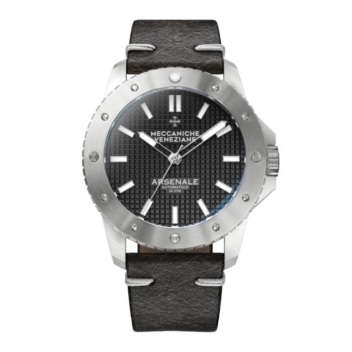 Meccaniche Veneziane - Automatic Arsenale 4.0 Black with Italian Leather Strap - 1303001 - Men - 2011-present