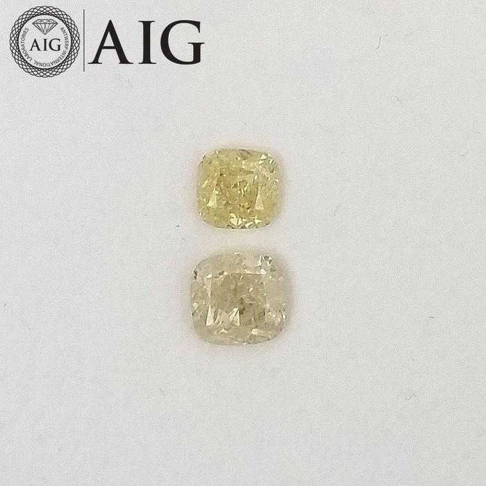 2 pcs Diamonds - 0.99 ct - Cushion - Natural Fancy Light Yellow - I1, SI3, ***No Reserve Price***