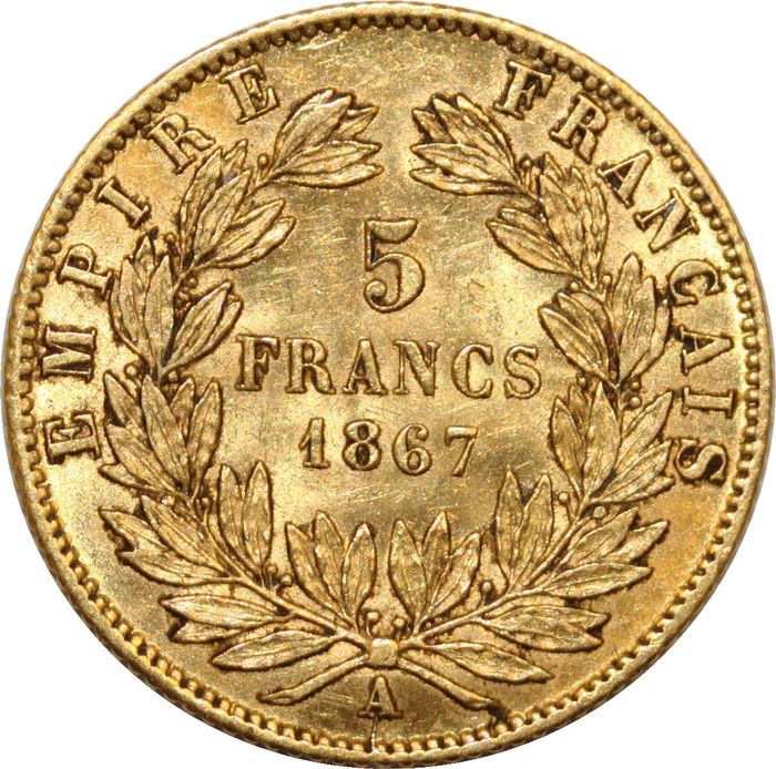 France. 5 Francs 1867-A, Paris