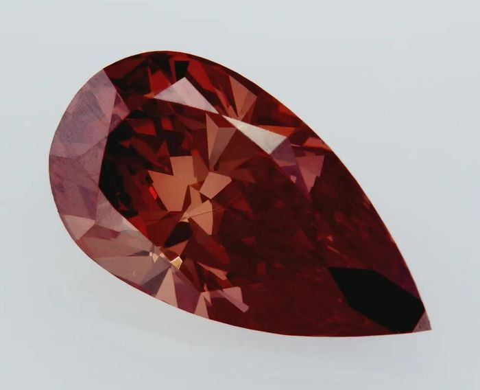 1 pcs Diamant - 2.91 ct - Poire - Fancy Orangy Red - VVS1, GIA CERTIFIED!