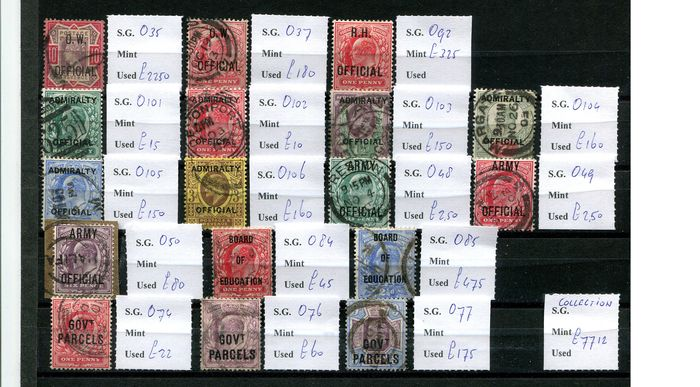 Great Britain 1896/1904 - Collection of official stamps - Stanley Gibbons Between SGO35 and SGO106