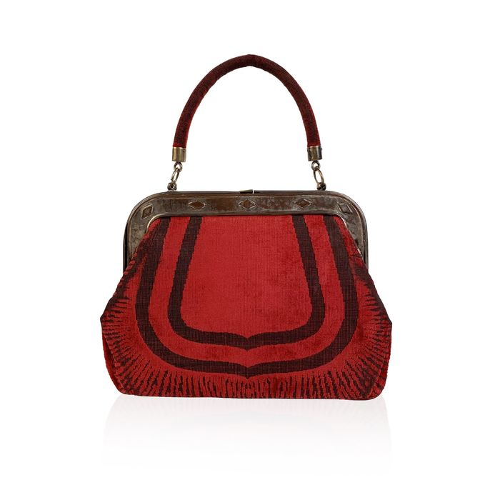 Roberta Di Camerino - Vintage Red Cut Out Velvet Framed Bolso de mano