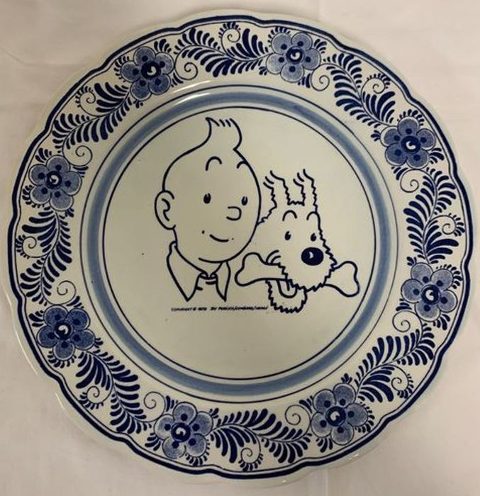 Tintin / Kuifje - Handpainted Delftware Plate / Delftsblauw Bord - Very Limited 1980 New Year Gift - Wavery Productions - 3 ex. - (1979)