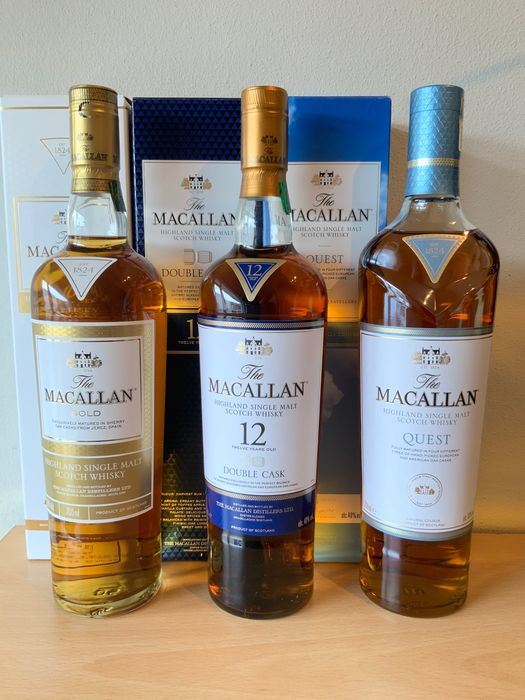 Macallan Gold Edition, Double Cask 12 years old & Quest Travel Edition - Original bottling - 70cl - 3 bottles
