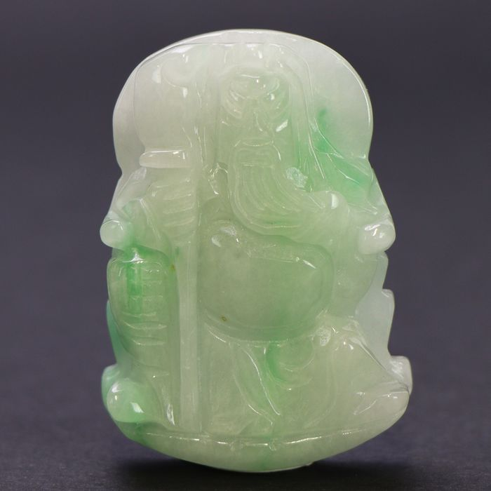 Serpentine group Old Wise Lucky Charm Carving - 55×49×13 mm - 61 g