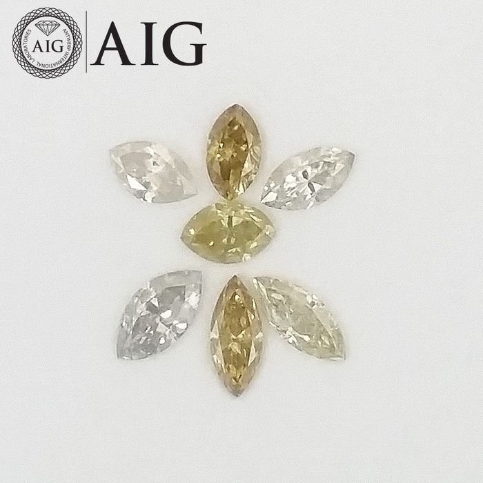 7 pcs Diamonds - 1.26 ct - Marquise - Mix Colors - SI1, SI2, ***No Reserve Price***