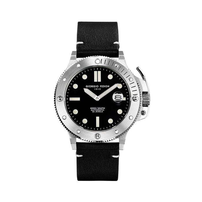"Giorgio Fedon - Automatic Aquamarine Stainless Steel Black Dial Black Leather Strap - GFCL001 ""NO RESERVE PRICE"" - Men - 2011-present"