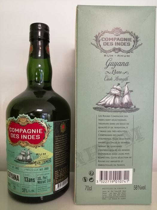 Port Mourant 2002 13 years old Compagnie des Indes - Single Cask 58% - One Of 219 - b. 2015 - 70cl