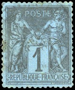Frankreich - Allegorical group 1876 1900 - 1 centime Prussian blue - date stamp postmark - very good centring - Yvert 84