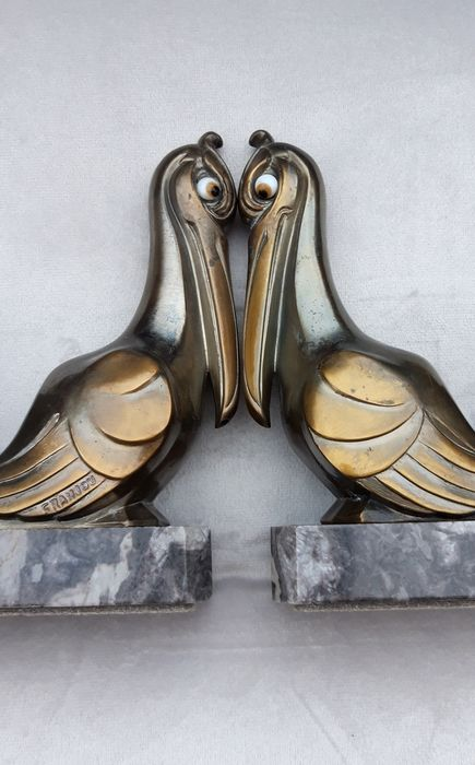 FRANJOU - Signed stylized Pelicans bookends