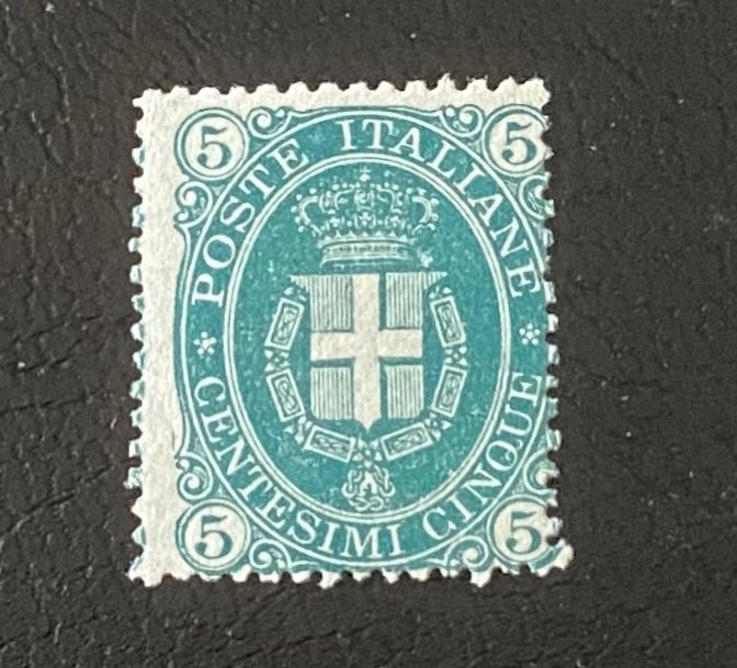 Reino de Italia 1889 - Coat of arms, 5 cents dark green and 5 lire green and carmine - Sassone N. 44