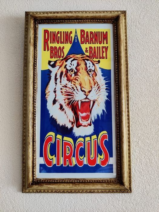 Large wood frame with beautiful metal billboard: Barnum & Bailey Circus Tiger - Panneau d'affichage - métal