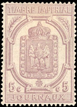 Frankreich - Newspaper stamps - 5 centimes lilac - nice centring - perfect quality - superb. - Yvert 10