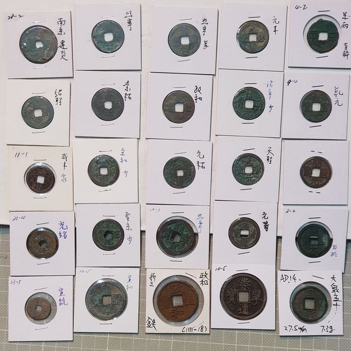 China. Collection of 25 cash coins (1-19 th century)