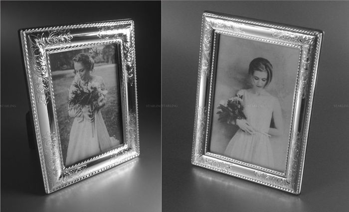 2 x Sterling Silver Romantic Photograph Frames for weddings etc. - 925 sterling silver - Italy - around 2000