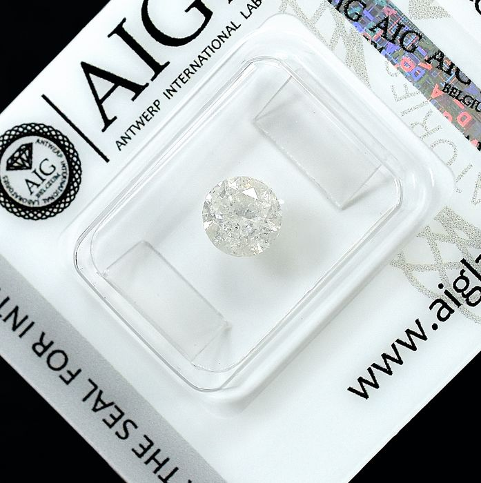 Diamant - 0.96 ct - Brillant - H - I2 - NO RESERVE PRICE - VG/VG/VG