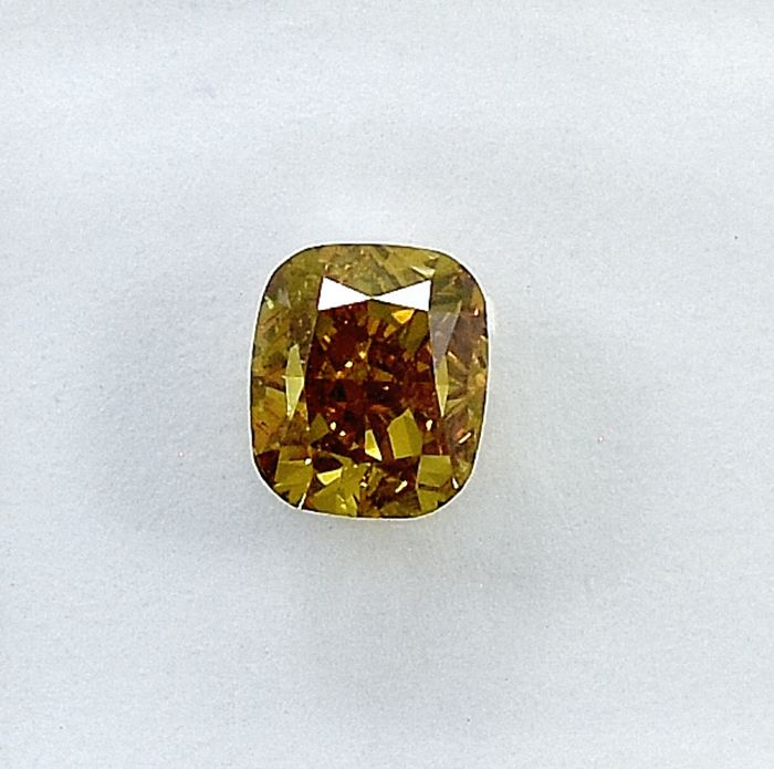Diamant - 0.55 ct - Coussin - Natural Fancy Intense Orangy Yellow - Si2 - NO RESERVE PRICE