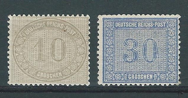 Impero tedesco 1872 - Complete set of numeral stamps - Michel 12/13