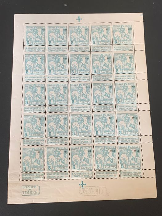 Belgium 1911 - Caritas issue with 'Charleroi 1911' overprint, 5c type 'Montald' in a complete sheet - OBP / COB F96