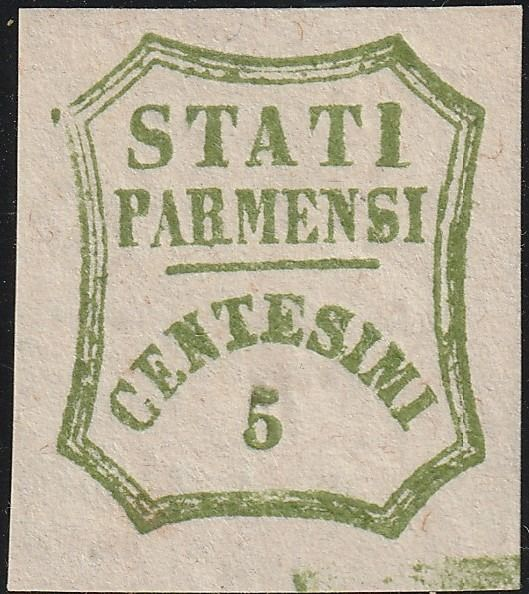 Italiaanse oude staten - Parma 1859 - Provisional Government 5 cents yellow green, typographic space - Sassone N. 13 VAR