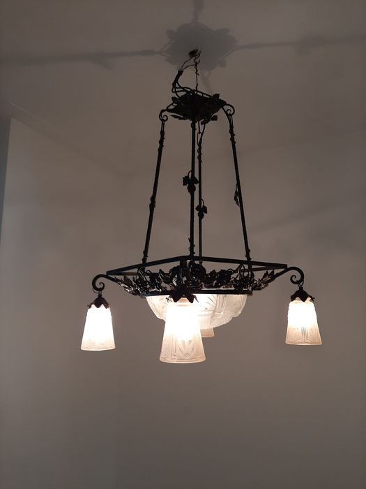 luster, pressed glass and wrought iron, with 5 light points (1)