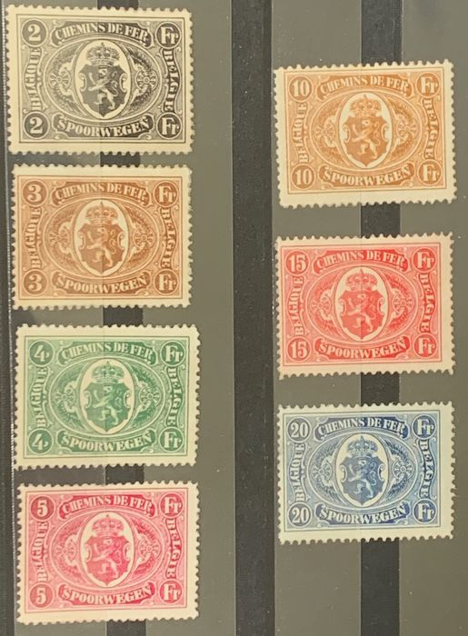 Belgium 1921/1921 - National coat of arms in oval, MNH - OBP / COB TR128-TR134