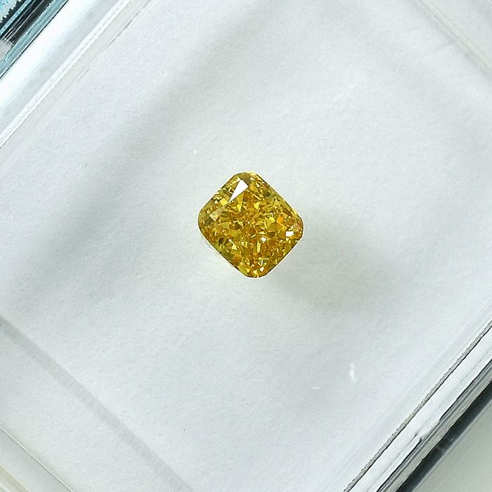 Diamant - 0.17 ct - Coussin - Natural Fancy Yellow - Si1 - NO RESERVE PRICE