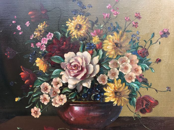James North (20th Century) - Still life of summer flowers in a vase