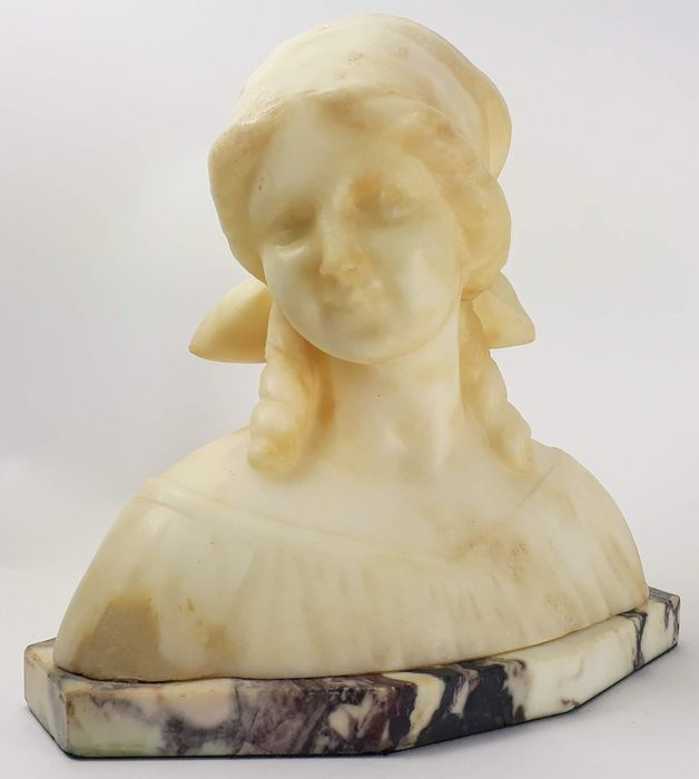 Anton Nelson (1849-1910) - Art Nouveau marble bust of a young woman