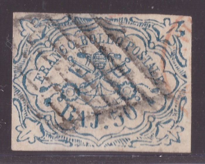 Antiguos Estados de Italia - Estado Pontificio 1852 - 50 baj light blue - Sassone N. 10