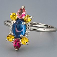 14 kt. White gold - Ring Sapphire - Diamonds, Sapphires, Spinel