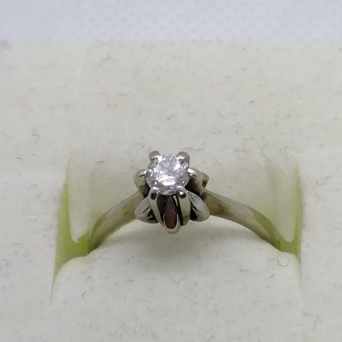 18 carats Or blanc - Bague - 0.25 ct Diamant