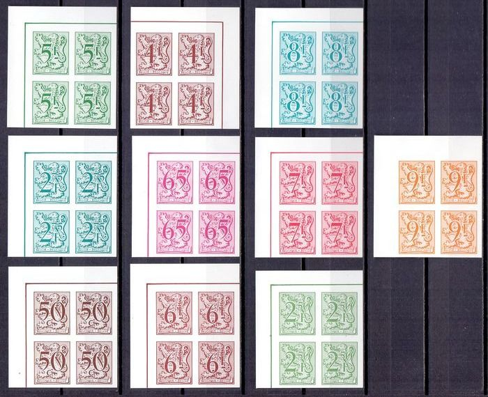 Belgium 1980/1988 - Group of imperforate corner pieces of four with Heraldic lion, all with rear numbers - OBP / COB