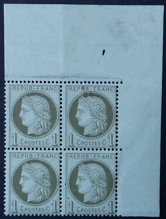 Francia 1872 - Ceres, 1 centime olive green, block of 4. - Yvert 50