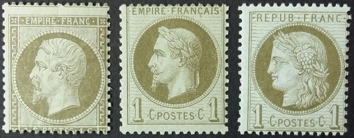 Francia - Classic period, selection of 3 stamps - Yvert 19, 25 et 50