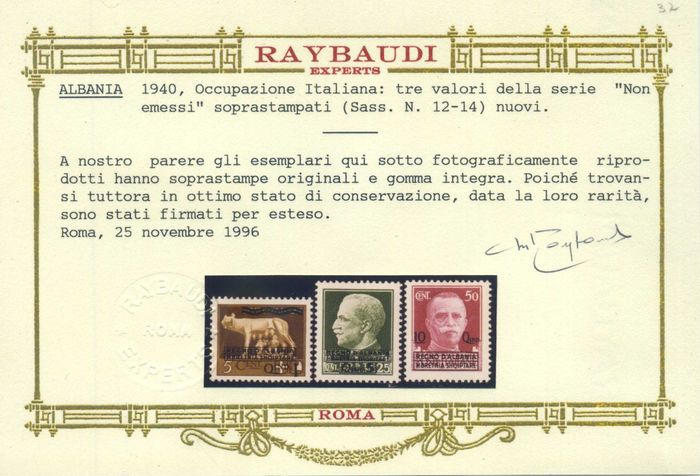 Italien - Albania, not issued, 4 values. Very fresh and centred. Catalogue No. 11/14