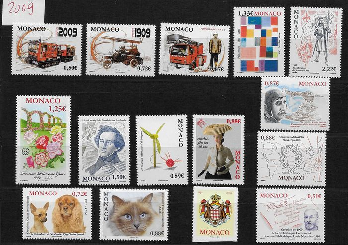 Monaco 2009 - 1 Complete year of stamps, blocks and booklet - Yvert 2658/2717