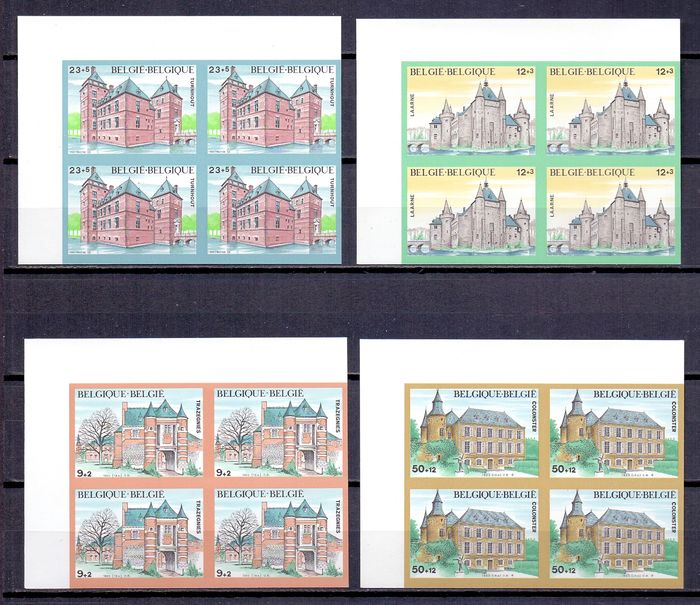 Belgium 1980/1987 - Architecture, compilation of seventeen imperforate stamps in blocks of four - All with rear numbers