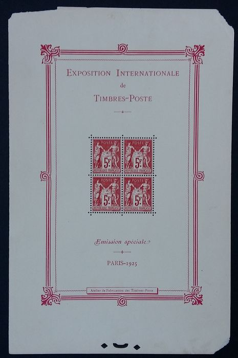 Francia 1925 - International exhibition, Paris, mint** - Yvert Bloc-feuillet 1