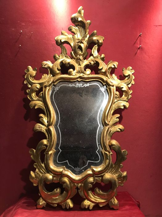 Real gold leaf gilded wooden mirror. - Baroque - Gilt, Wood - Late 19th century
