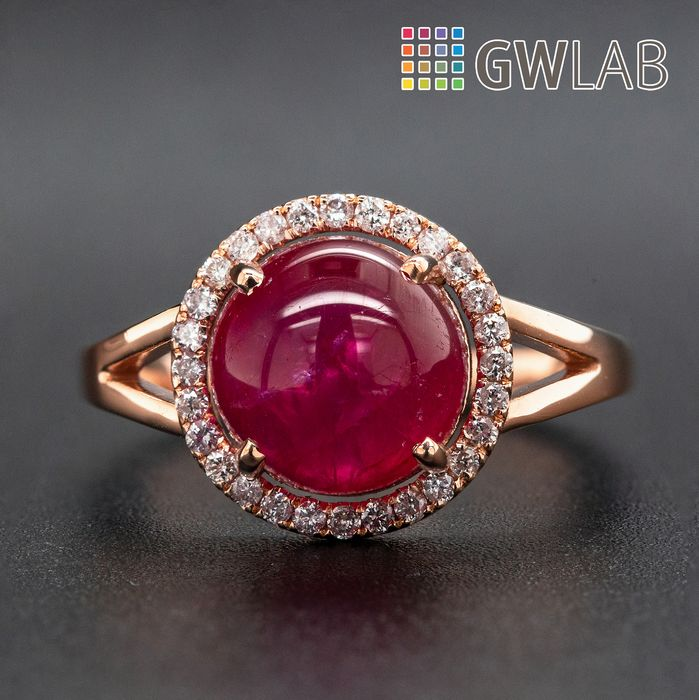 14 kt. Pink gold, 2.55g - Ring - 5.56 ct Ruby - 0.18 ct Diamonds - No Reserve Price