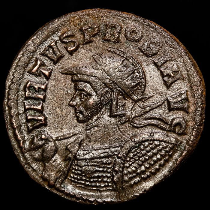Roman Empire. Probus (AD 276-282). Æ Antoninianus,  Tcinum - SALVS AVG V - ☆ / TXXI Salus standing right, feeding serpent in arms