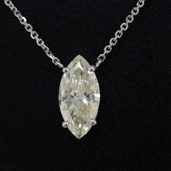 14 kt. White gold, 1.57g - Necklace with pendant - 1.06 ct Diamond - No Reserve Price
