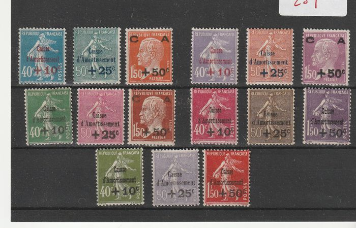 Francia 1927/1931 - Lot of the 5 Caisse d'Amortissement series. - Yvert n°246/51, 253/55, 266/68, 275/77