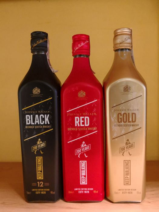 Johnnie Walker Red Label - Black Label 12 years - Gold Label 200th Anniversary - 70cl - 3 bottles
